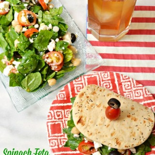 Spinach Feta Salad on Flatbread
