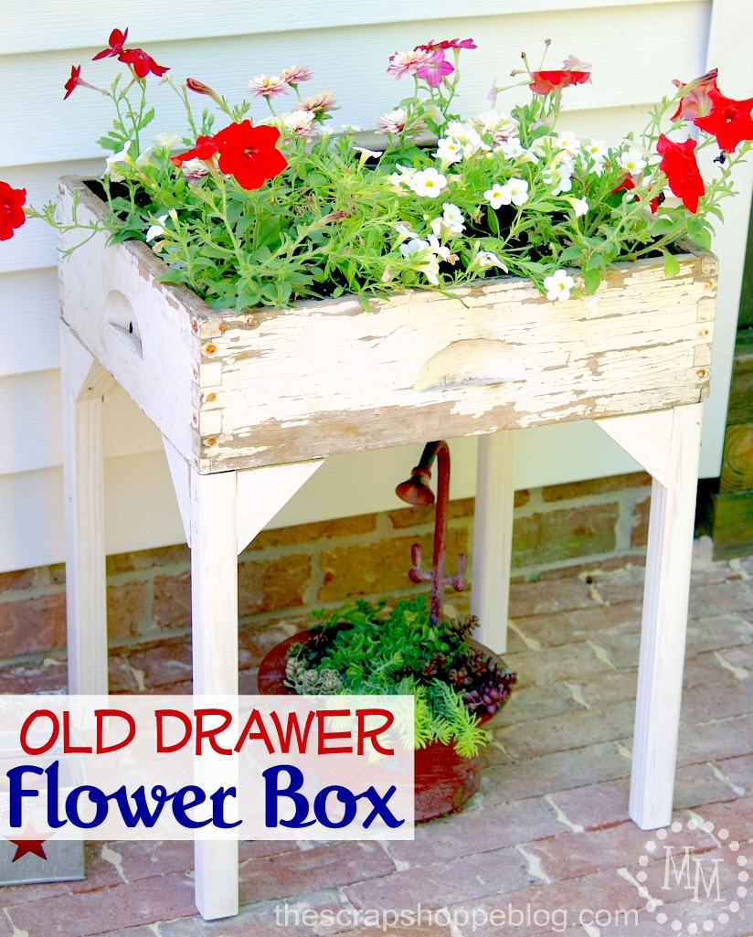 Old Drawer Flower Box from The Scrap Shoppe Blog