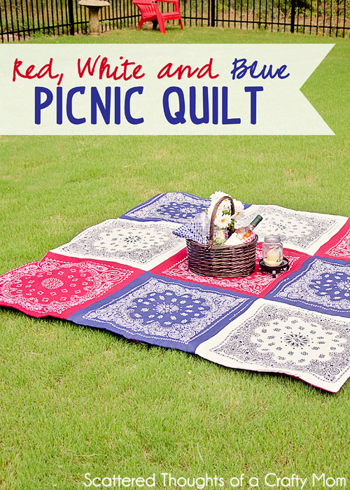 Red, White and Blue Picnic Quilt from Scattered Thoughts of a Crafty Mom