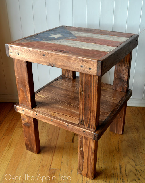 DIY Flag End Table from Over The Apple Tree