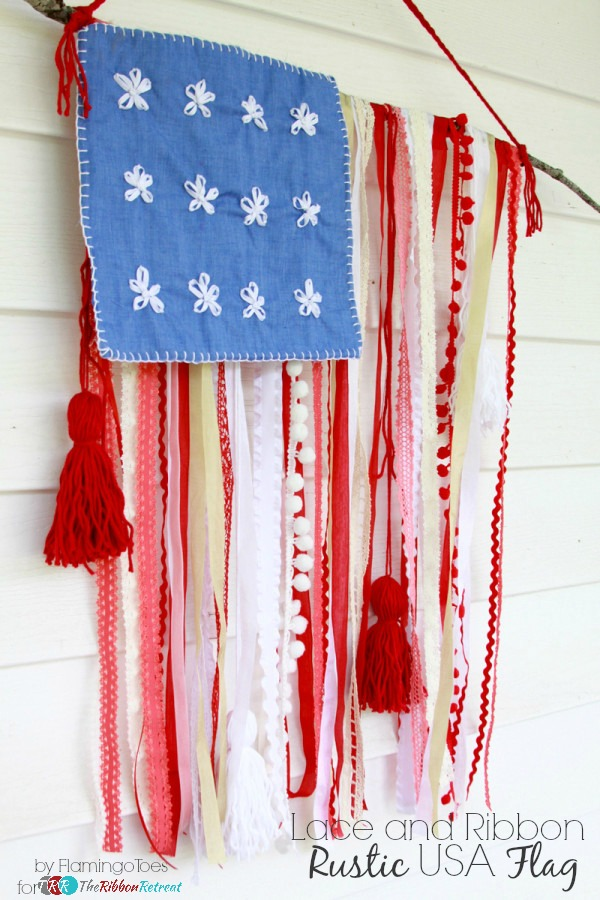 Lace and Ribbon Rustic USA Flag at The Ribbon Retreat