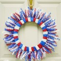 Enjoy fireworks right until the 4th with this fun & easy Fireworks Wreath! A great family project made with curled tinsel stems! At littlemisscelebration.com