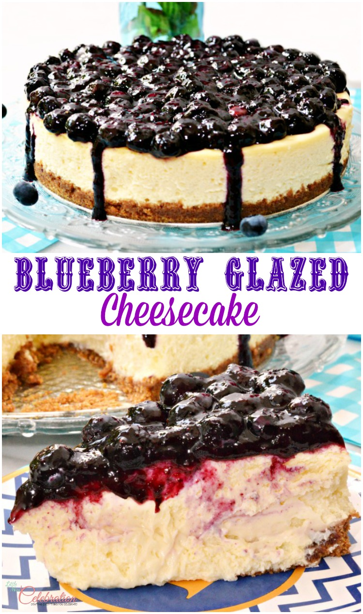 Blueberry Glazed Cheesecake is the creamiest cheesecake ever! Luscious cheesecake sits on cinnamon-scented graham cracker crust, topped with homemade blueberry glaze. Recipe at littlemisscelebration.com