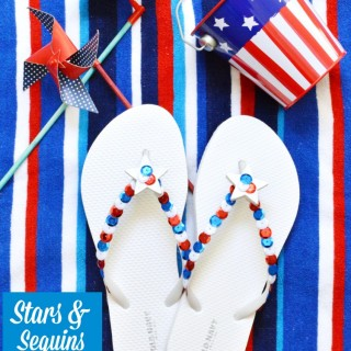 Transform inexpensive flips flops into fun & sparkly Stars & Sequins Flip Flops and sparkle for the 4th! At littlemisscelebration.com