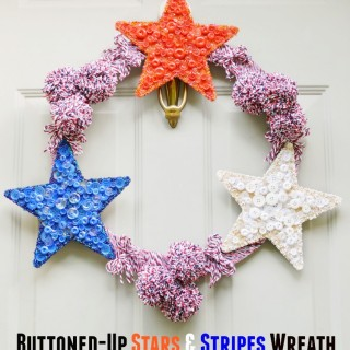 Give a wooden wreath form and star a big dose of red, white & blue with yarn, buttons & beads! Buttoned-Up Stars & Stripes Wreath is a great patriotic welcome to celebrate the 4th! At littlemisscelebration.com
