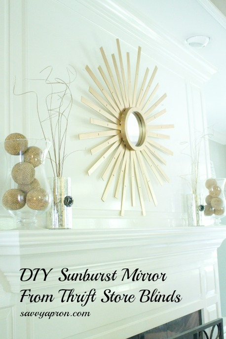 DIY Sunburst Mirror from Thrift Store Blinds by Savvy Apron