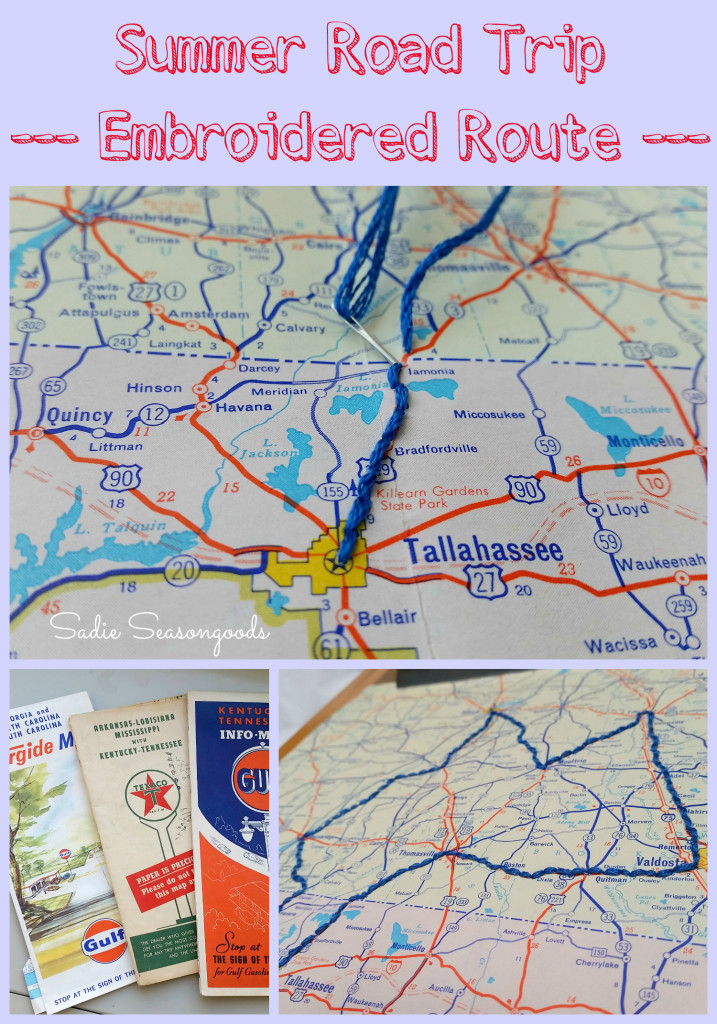Summer Road Trip Embroidered Route from Sadie Seasongoods