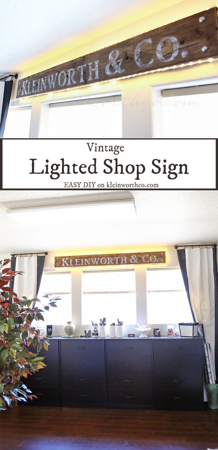Vintage Lighted Shop Sign from Kleinworth & Co.