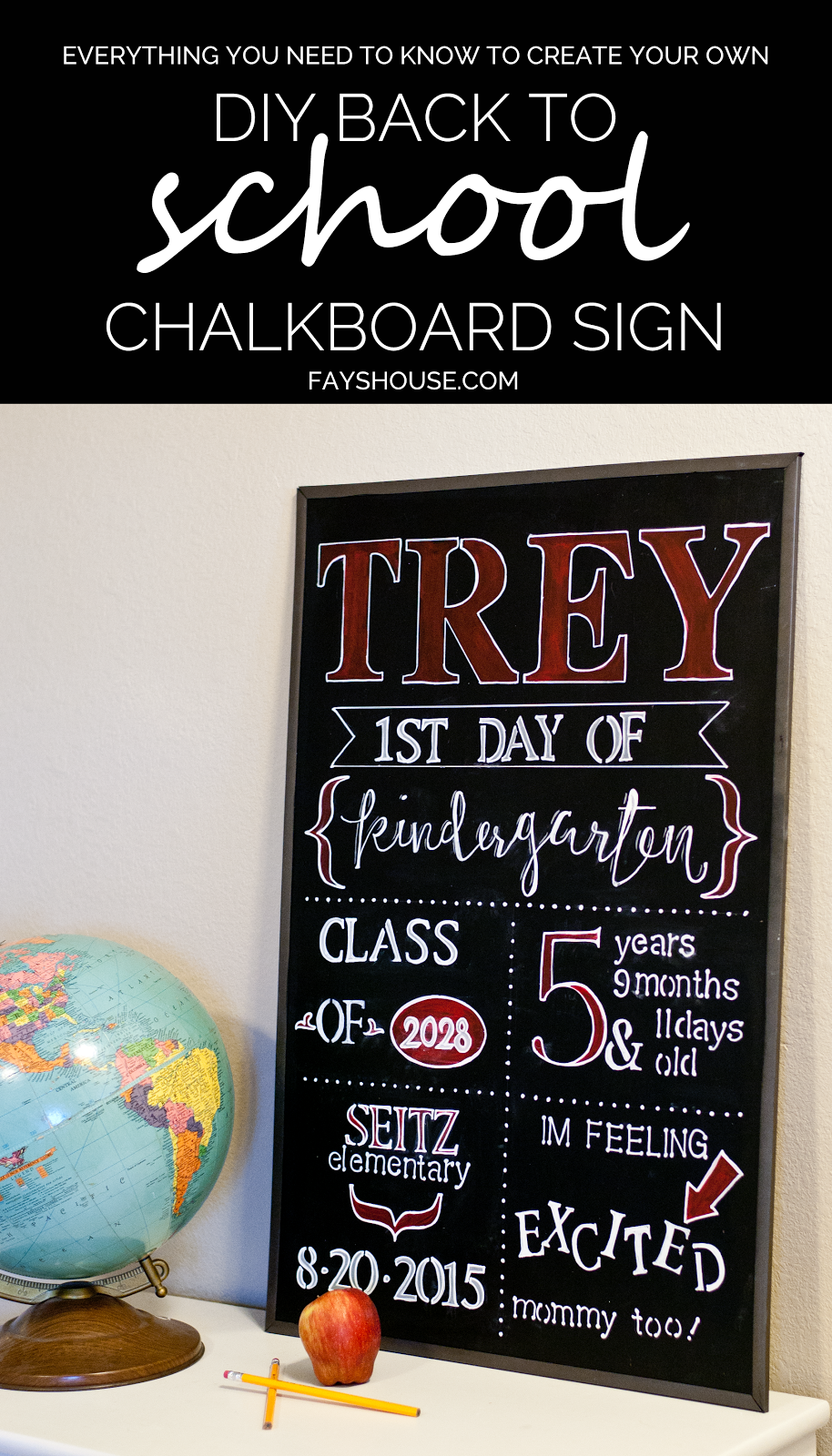 DIY Back to School Chalkboard Sign from Fay's House