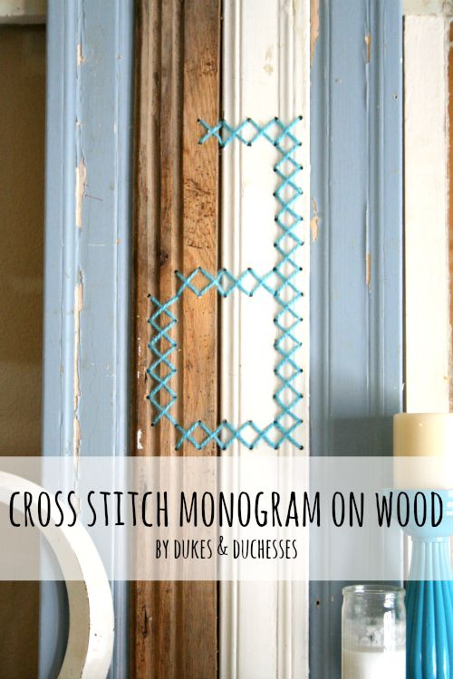 Cross Stitch Monogram on Wood from Dukes & Duchesses