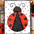 Add some pops of dotted painted flowers to a button & bead kit to make adorable Lucky Ladybug Button Art! Fun gift idea, too! At littlemisscelebration.com