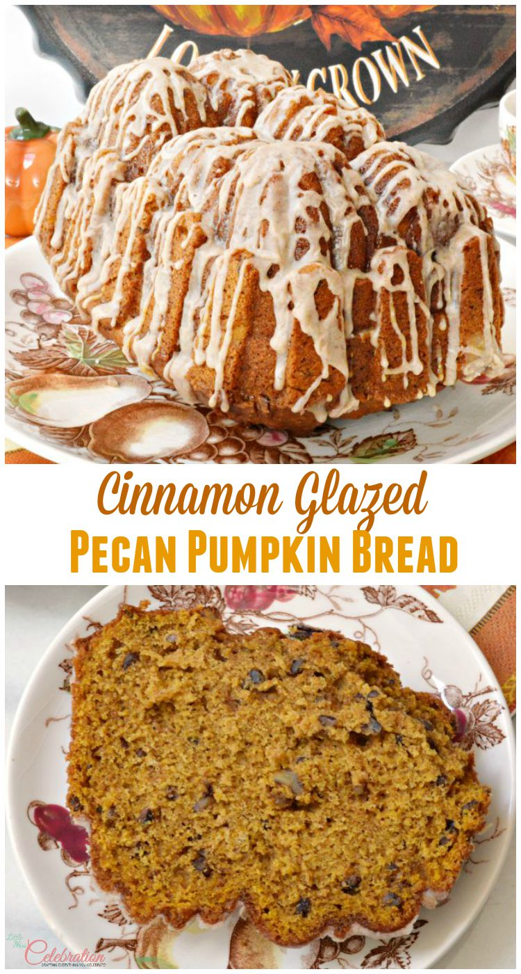 Bake a delicious Cinnamon Glazed Pecan Pumpkin bread that topped with a spicy & sweet glaze! Recipe at littlemisscelebration.com