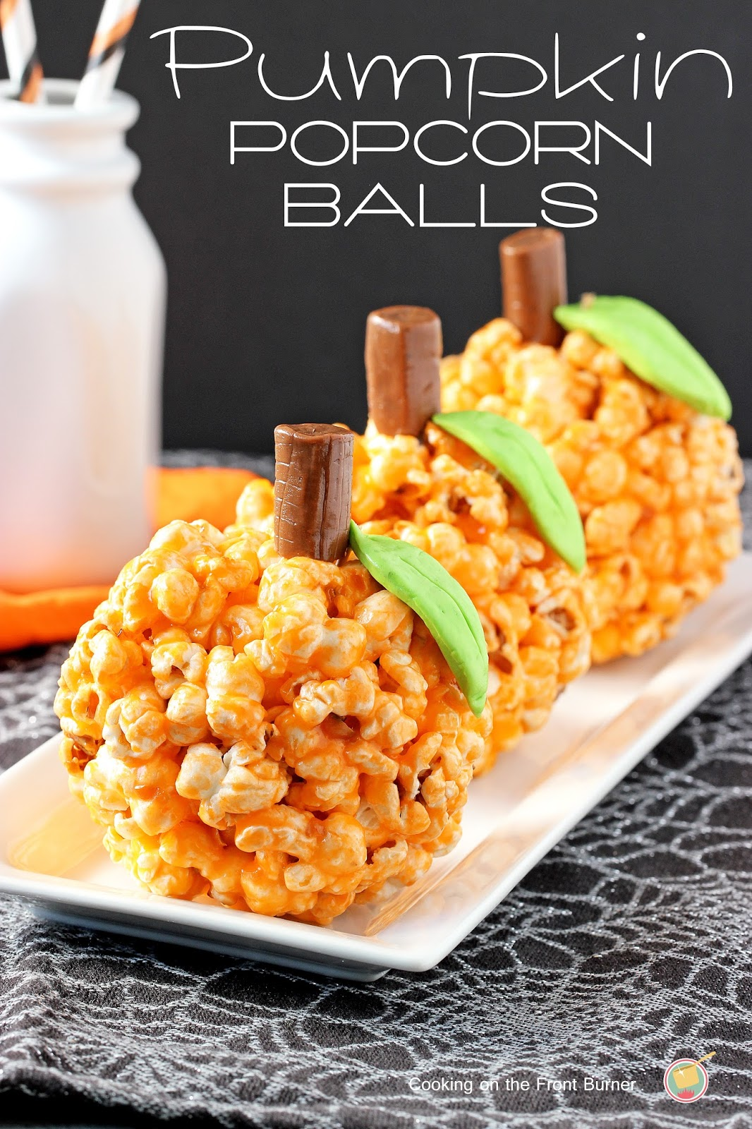 Pumpkin Popcorn Balls from Cooking on the Front Burner