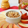 Too easy to be so delicious! Honey Peanut Butter Dip, with spices & crunch, goes perfectly with apples, celery & more! Recipe at littlemisscelebration.com