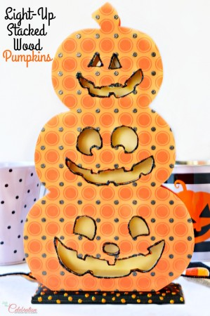 Bring some Halloween glow & a bit of charm to your holiday decor with Light-Up Stacked Wood Pumpkins! So cute! At littlemisscelebration.com