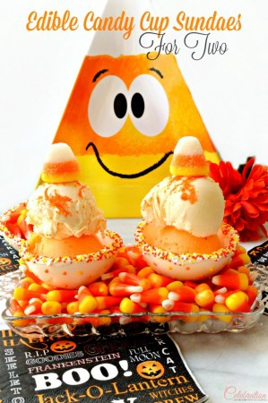 Have an ice cream treat this Halloween in a cup you eat! Edible Candy Cup Sundaes for Two are easy & fun! at littlemisscelebration.com