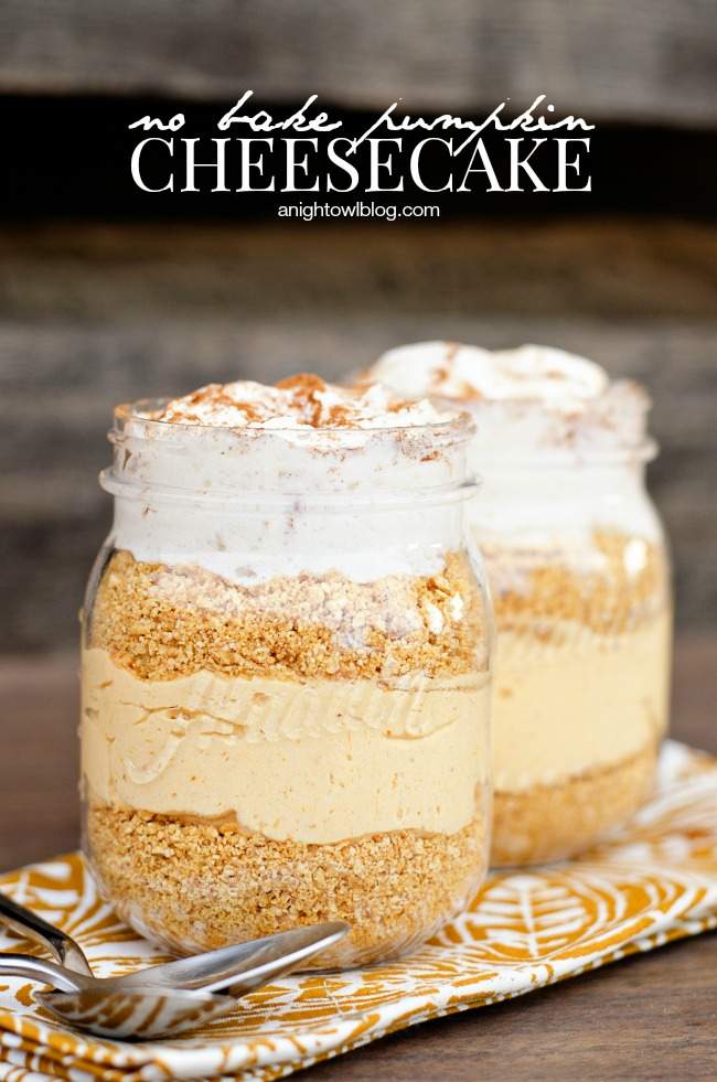 No Bake Pumpkin Cheesecake Parfaits from A Night Owl Blog