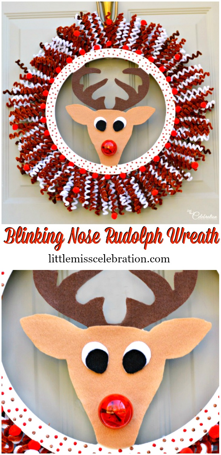 Rudolph fans will LOVE this adorable & easy Blinking Nose Rudolph Wreath. Yes, his nose glows! at littlemisscelebration.com