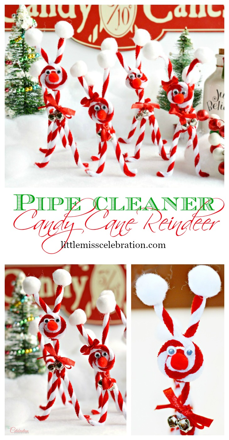 Pipe Cleaner Candy Cane Reindeer are an easy & fun family craft to kick off the holiday season - and cute, too! At littlemisscelebration.com