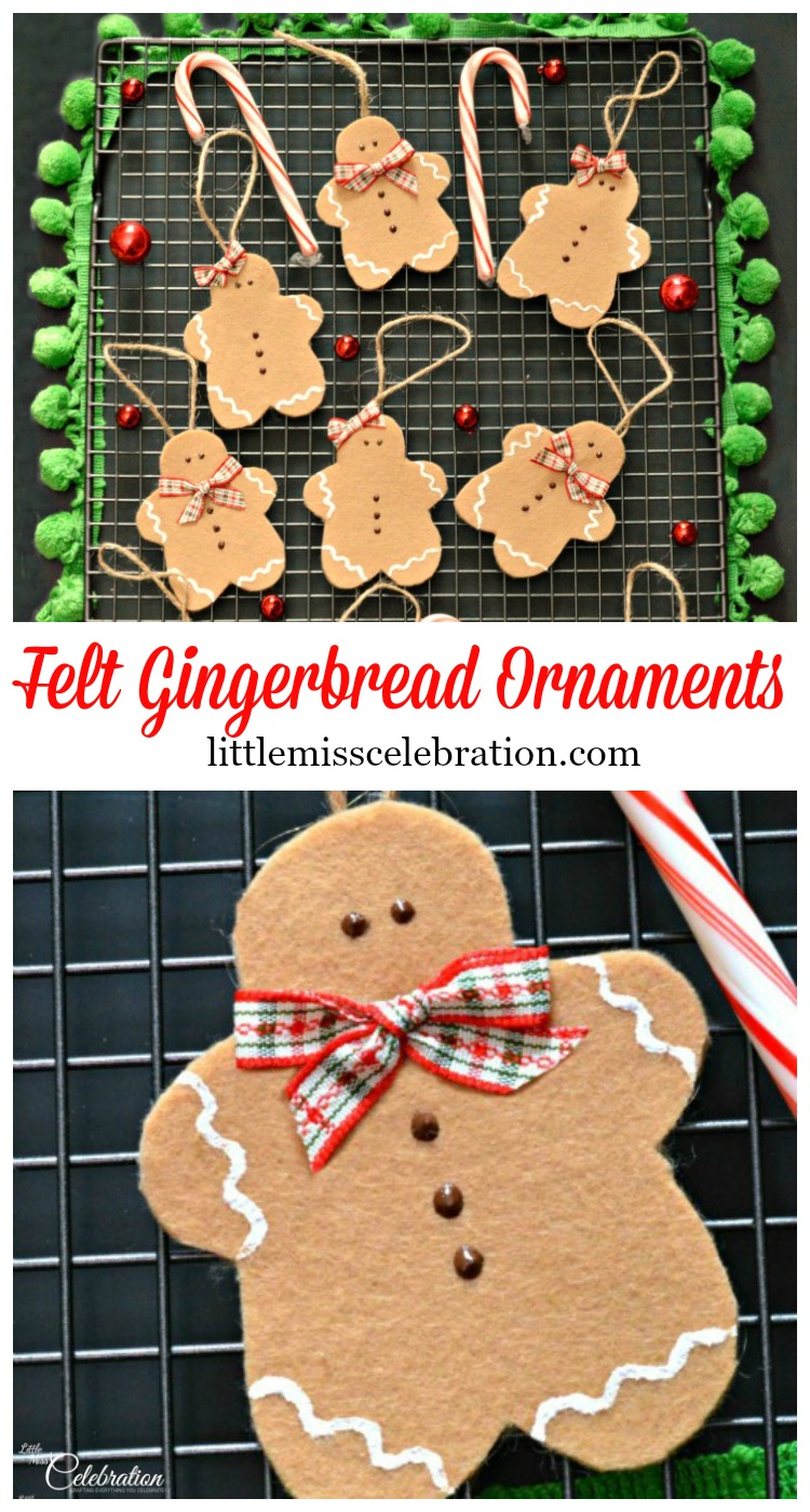 Simple & sweet, Felt Gingerbread Ornaments are an easy family craft! Hang on the tree, add to packages, use as cookie party exchange favors! At littlemisscelebration.com