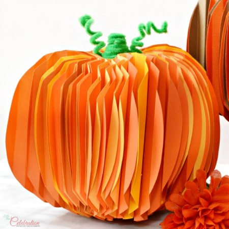 "A fun family craft project with whimsical charm for Thanksgiving! How To ""Build"" Pleated Paper Pumpkins for Thanksgiving at littlemisscelebration.com"