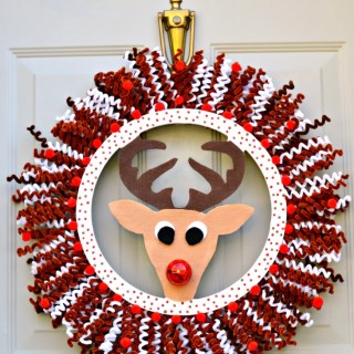 Blinking Nose Rudolph Wreath