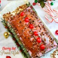 Bake a Cherry Nut Pound Cake for the holidays! Dense & tender, with a pretty-in-pink, vintage vibe! Recipe at littlemisscelebration.com