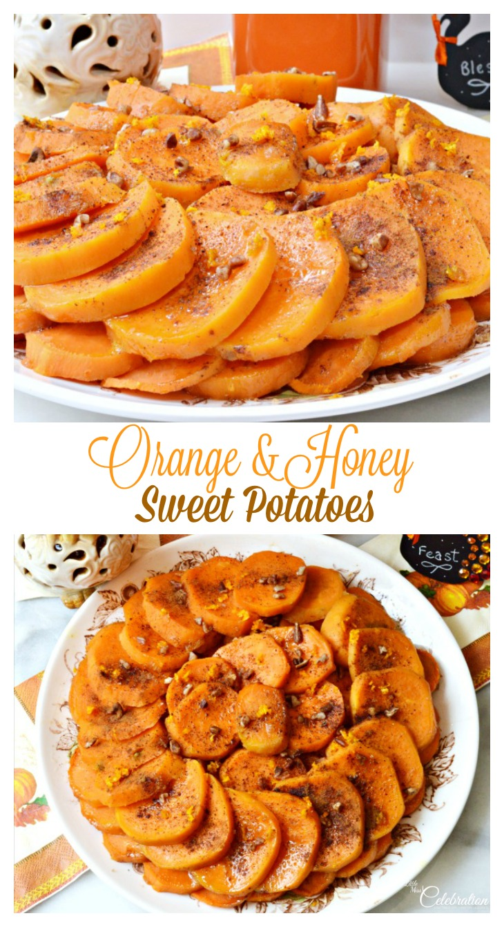 Try a different take on sweet potatoes this Thanksgiving! Orange & Honey Sweet Potatoes are a play on Potatoes Anna, bright with the flavor of Valencia orange. Recipe at littlemisscelebration.com