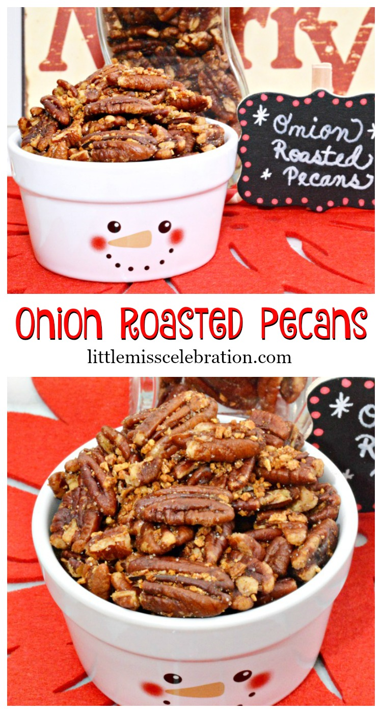 Try these easy Onion Roasted Pecans, a wonderful, savory food gift and great for munching! Recipe at littlemisscelebration.com