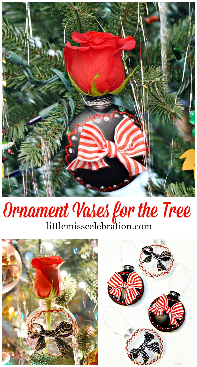 Easy Ornament Vases for the Tree let you add the beauty of fresh flowers to the Christmas Tree! #HandCraftedXmas at littlemisscelebration.com