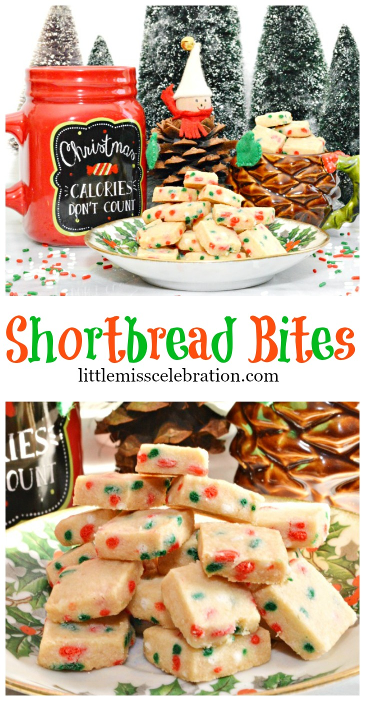 Just 4 ingredients make these addictive little Shortbread Bites! Part of the 2015 Cookie Exchange! littlemisscelebration.com