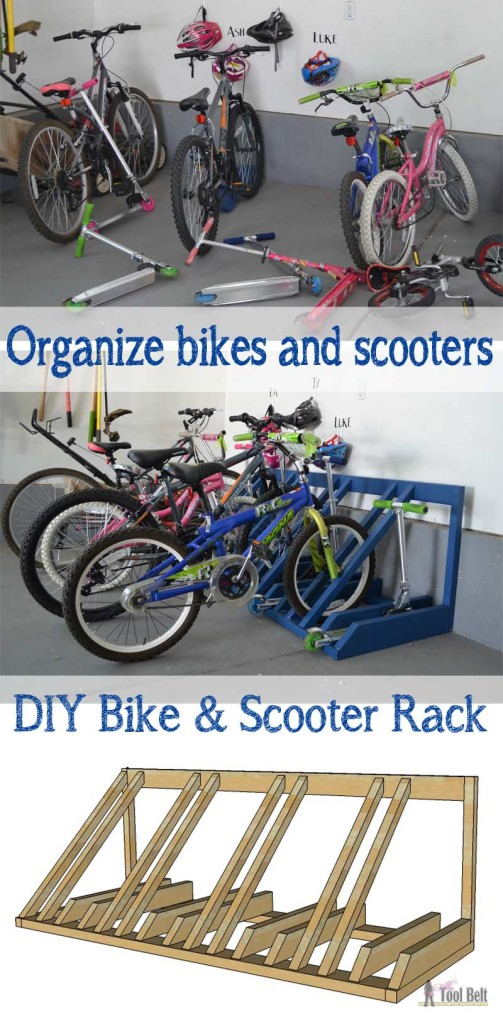 DIY Bike and Scooter Rack from Her Tool Belt