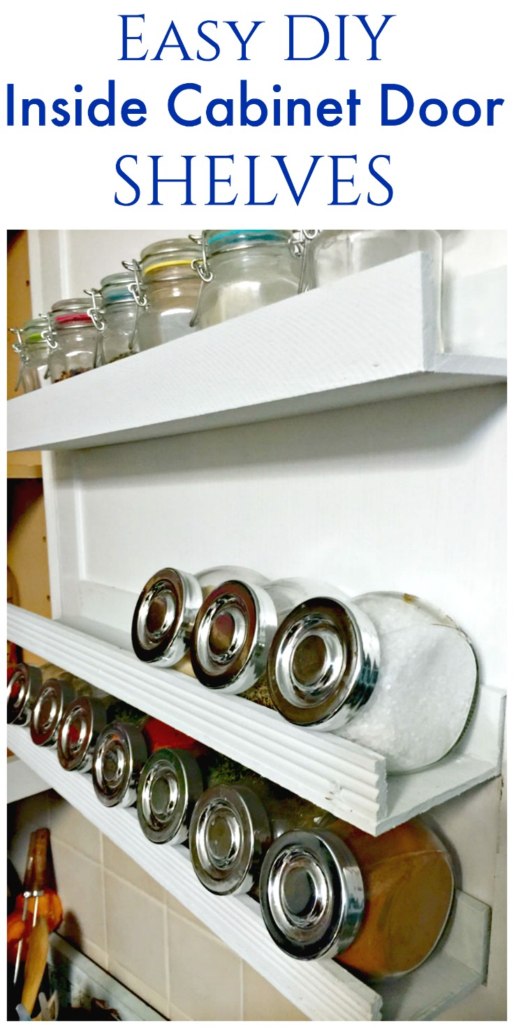 Easy DIY Inside Cabinet Door Shelving from Create and Babble