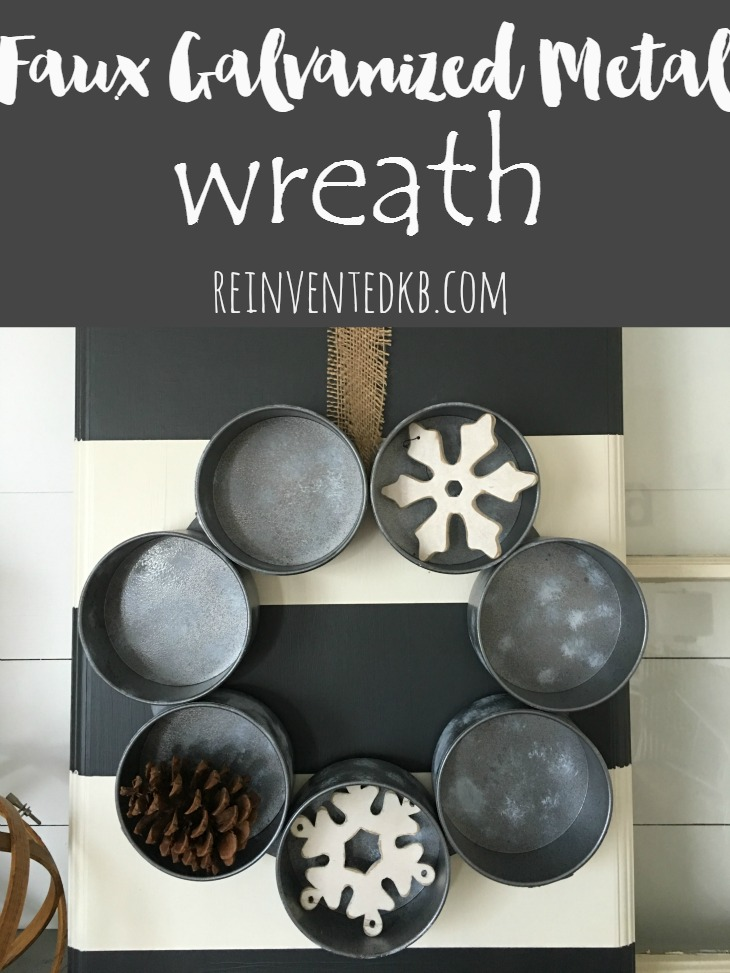 Faux Galvanized Metal Wreath from Reinvented