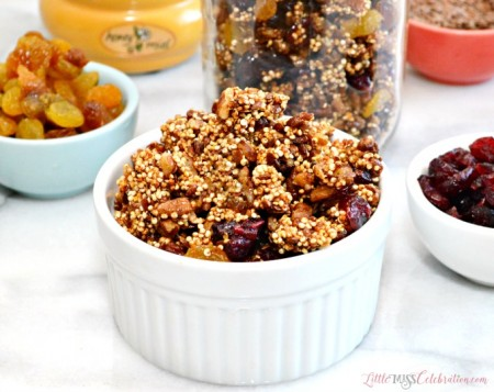 Bake up a easy batch of sweet & crunchy Quinoa Pecan Granola and snack healthy! At littlemisscelebration.com
