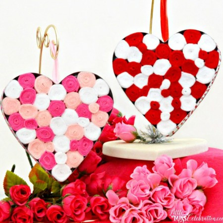Create pretty, Felt Filled Metal Hearts with rolls of felt & sparkle on the side! At littlemisscelebration.com