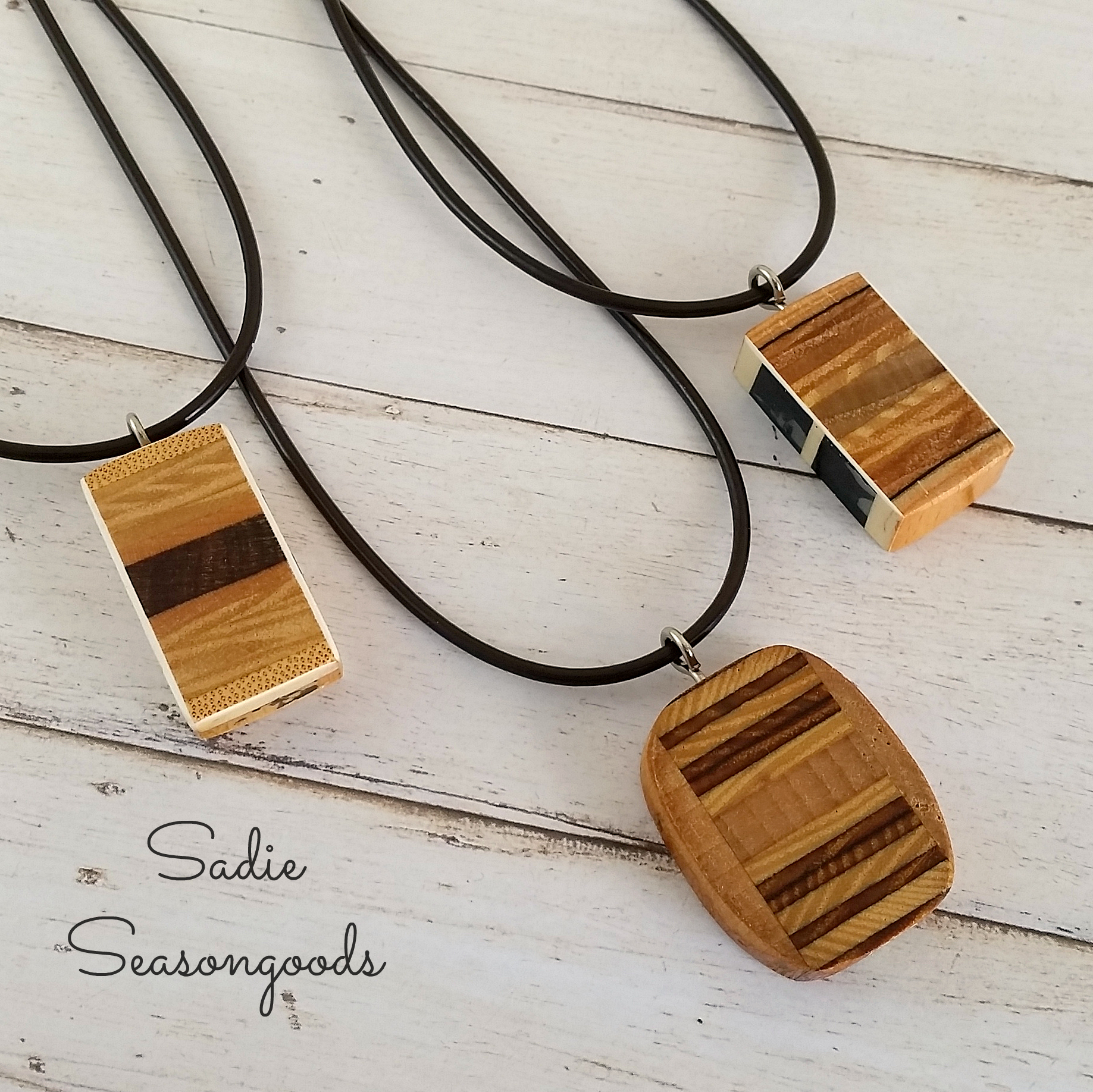 DIY Wood Pendants from Vintage Tennis Rackets from Sadie Seasongoods