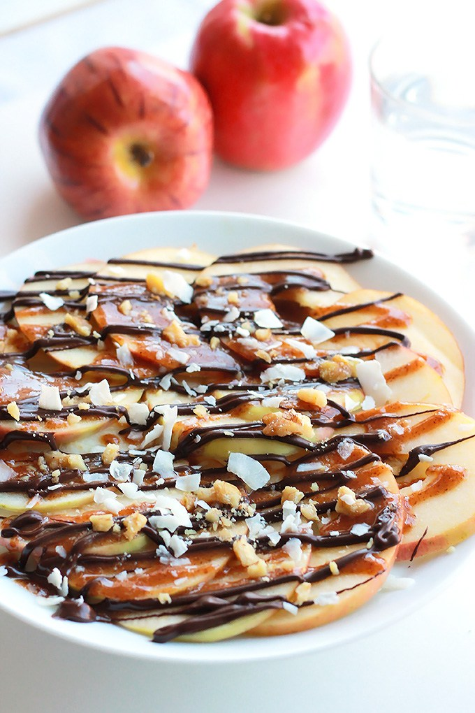 Apple Nachos with Vegan Caramel Sauce from The Whole Serving