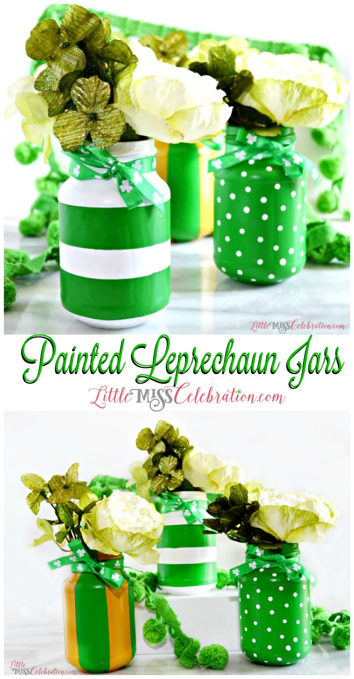 With a little paint & ribbon, transform glass jars into pretty Painted Leprechaun Jars for St. Patrick's Day! at littlemisscelebration.com