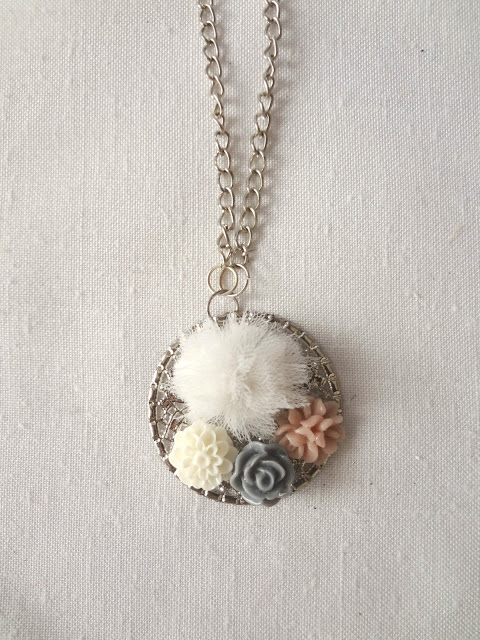 Easy Cabochan & Pom-Pom Pendant Necklace from Little Treasures