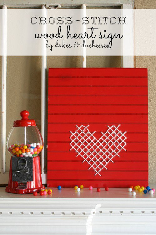Cross-Stitch Wood Heart Sign from Dukes & Duchesses