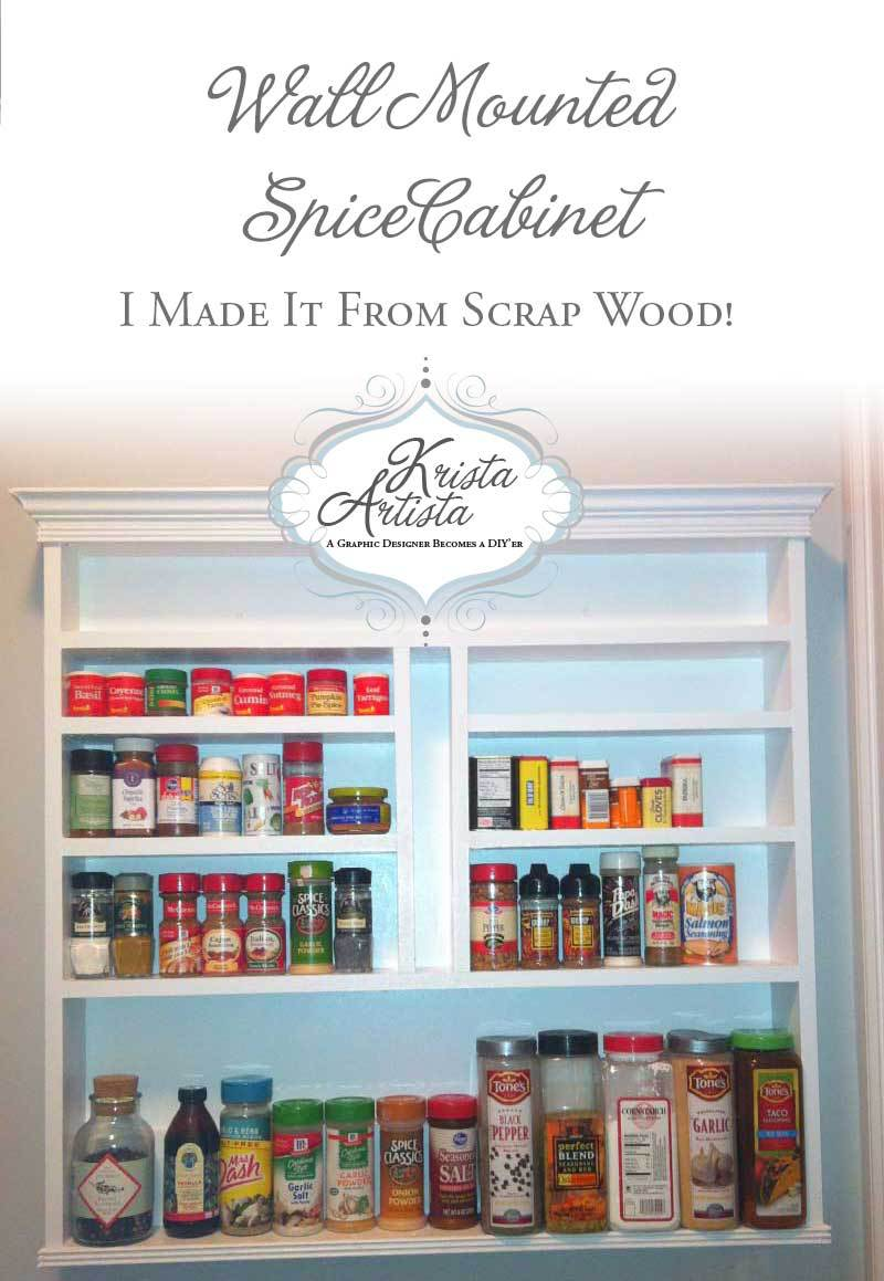 DIY Wall Mounted Spice Rack from Krista Artista