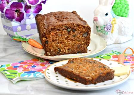 Chock full of grated carrot, walnuts, coconut & golden raisins, easy Carrot Walnut bread is blissfully delicious! Keeps up to 2 weeks in the fridge! Recipe at littlemisscelebration.com