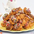 What's not to love about caramel, chocolate & happy sprinkles? Pile a plate with No-Bake Chocolate Topped Caramel Crispy Bites for Easter, spring parties or family movie night! Recipe at littlemisscelebration.com
