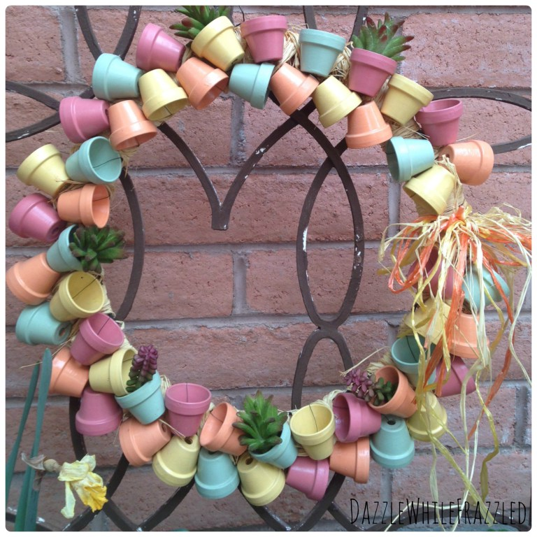 Miniature Terra Cotta Flower Pot Wreath from Dazzle While Frazzled