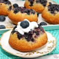 Change up the muffins & serve everyone their own mini blueberry cake! Upside-Down Blueberry Puffs from Little Miss Celebration for PinkWhen