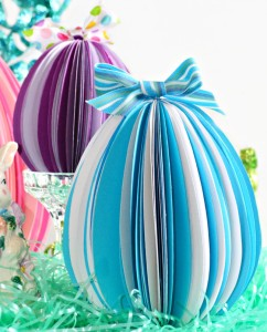 Cut egg shapes, fold, glue & make unique, dimensional Stand-Up Paper Eggs for Easter! Great family project! at littlemisscelebration.com