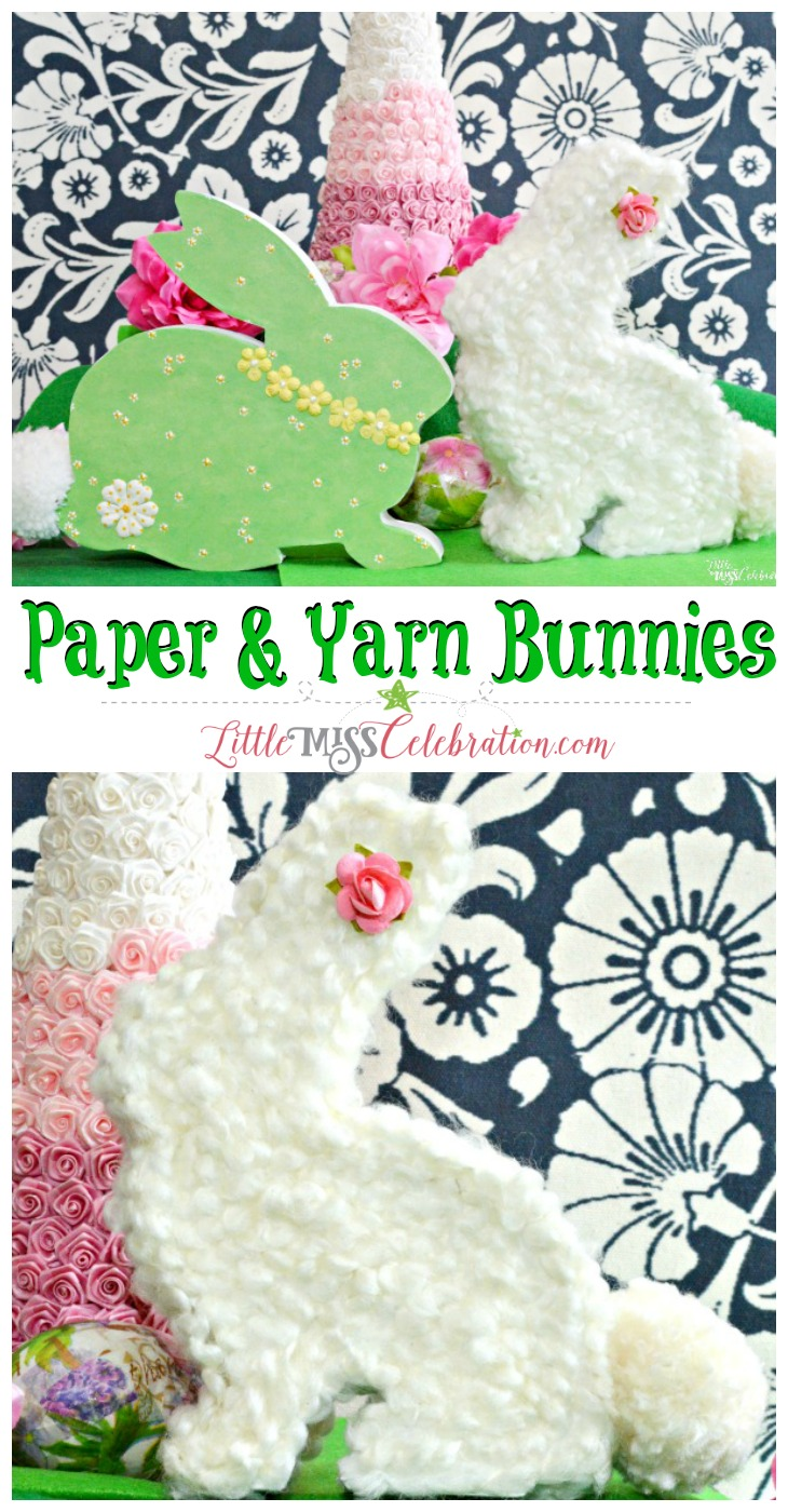 Add a few sweet bunnies to your Easter & spring decor! It's easy to turn wood & paper mache shapes into Paper and Yarn Bunnies. At littlemisscelebration.com