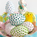Easily bejewel eggs from a bottle! Liquid Pearl Eggs make dazzling decor for spring! At littlemisscelebration.com