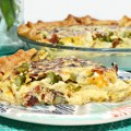 Roasted asparagus, bacon & cheese pie will make asparagus and quiche lovers very happy! Great for lunch/brunch with the girls! Recipe at littlemisscelebration.com